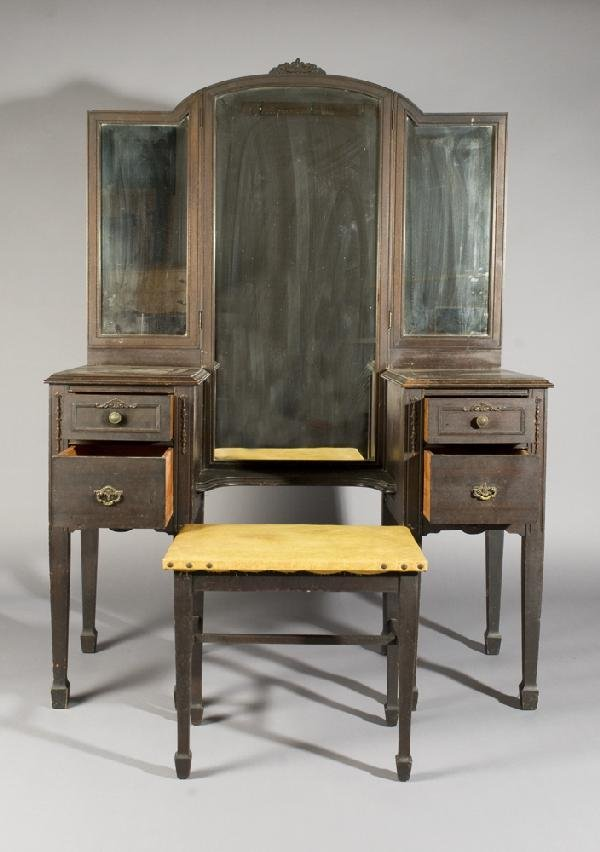 20: Early 20th C. Vanity with Matching Chair