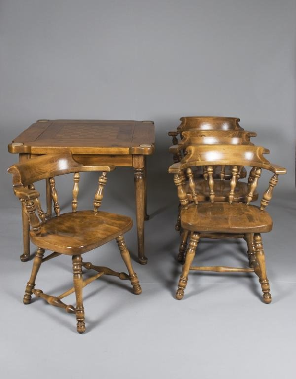 21: Mid. 20th C. Games Table and 4 Arm Chairs