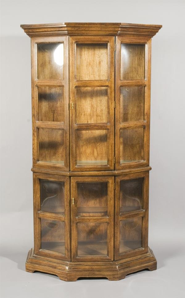 24: Vintage Wood and Glass Curio Cabinet