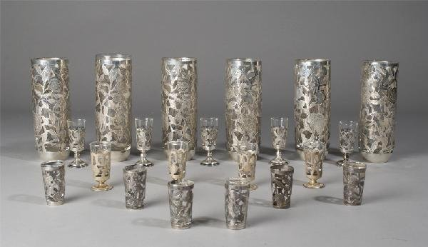 229: Collection of 21 Mexican Sterling Overlay Glasses