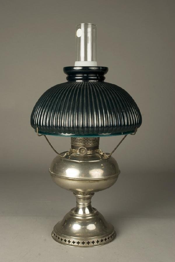 337: Late 19th C. Nickel Finish Oil Lamp and Shade