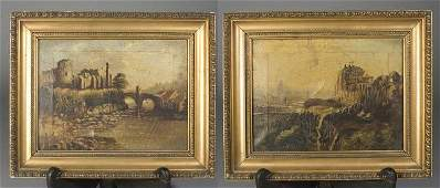 392 Pair of English School Oil Paintings on Canvas