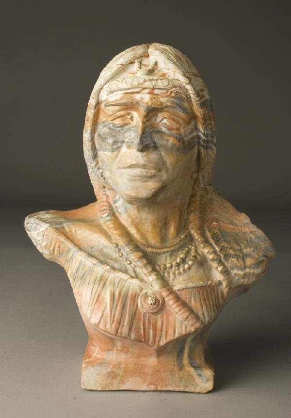 610: Late 20th C. Comanche Pottery Bust of Indian
