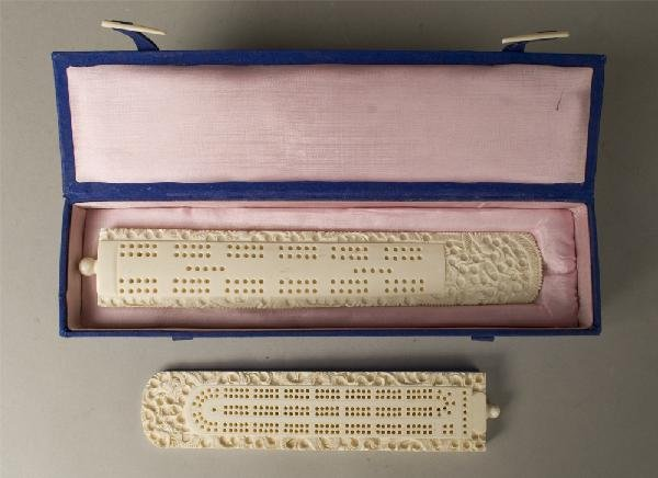 617: 2 Finely Carved Chinese Ivory Cribbage Boards