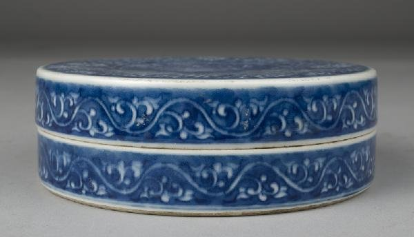 618: Chinese Qing Blue & White Porcelain Paste Box