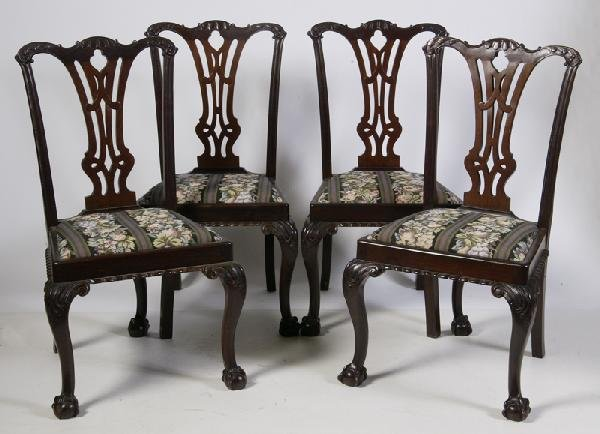623: Set of 4 Chippendale Style Side Chairs, Late 19th