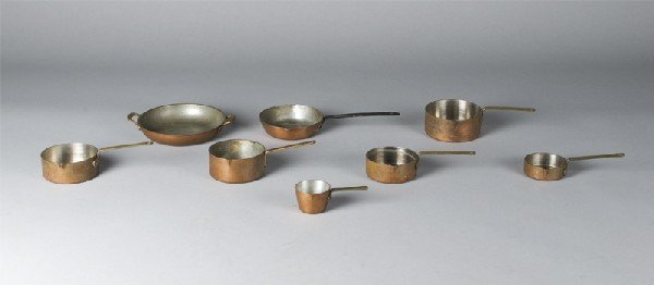 3: ( 8 ) Pieces Miniature Copper Tinned Lined Cookware