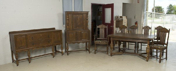 15: Antique Carved Jacobean Style Dining Set