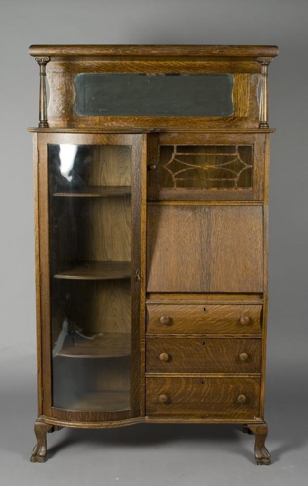 16: Victorian Oak Side by Side Secretary/Bookcase