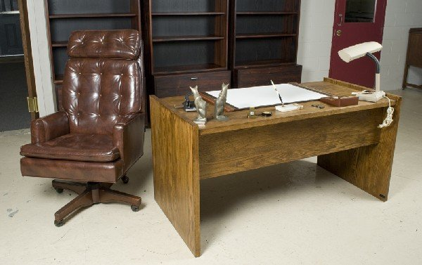 19: Mid Century Oak Desk, And Leather Chair