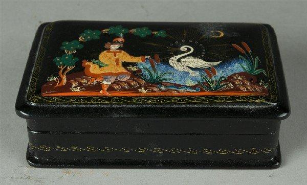 414: Russian Decorated Lacquer Box