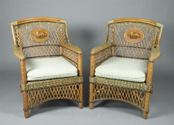 451: Pr. Of Wicker Chairs with Seat Pads