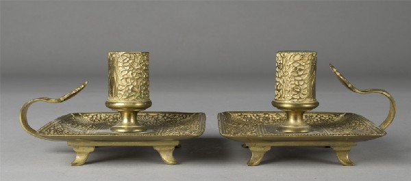 452: Pr. Of Handheld Brass Candlesticks
