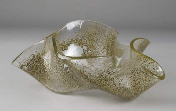 453: Small Slumped Glass Vessel by Laurel Fyfe