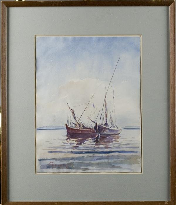 455: Watercolor on Paper Depicting Sailboats
