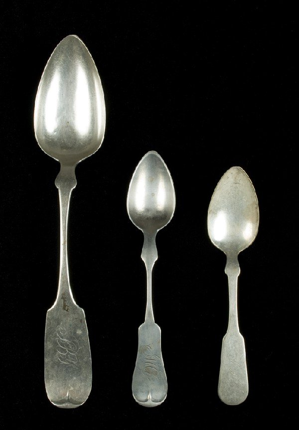 458: (3) Antique Coin Silver Fiddle Shaped Spoons