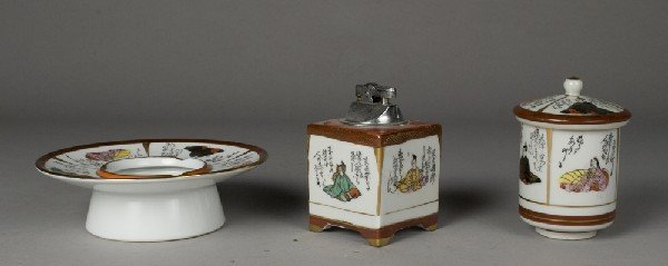 461: ( 3 ) Piece Kutani Porcelain Smoking Set