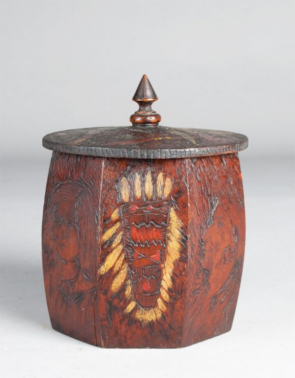 452A: Fine Native American Carved & Painted Humidor