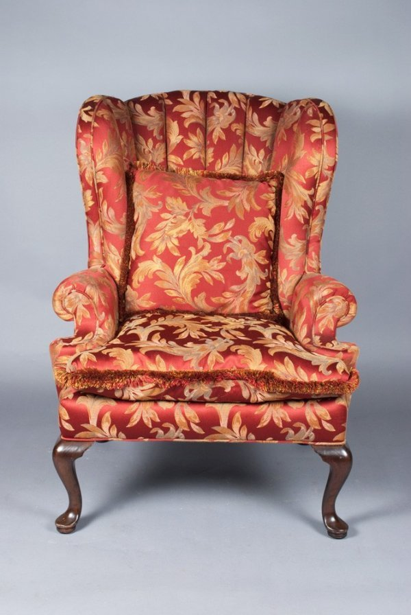 458A: Fine Henredon Oversized Wing Chair And Pillow