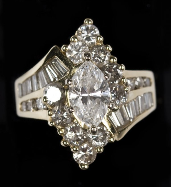 457A: Ladies Diamond and 14K Yellow Gold Ring