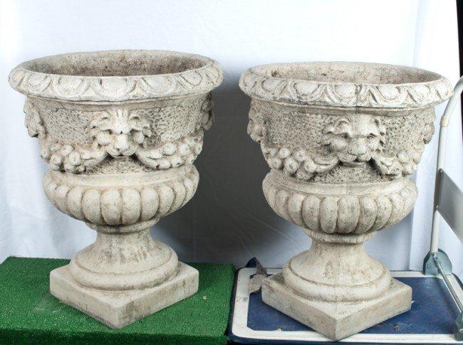15: Pr. Of Large Cement Architectural Garden Urns