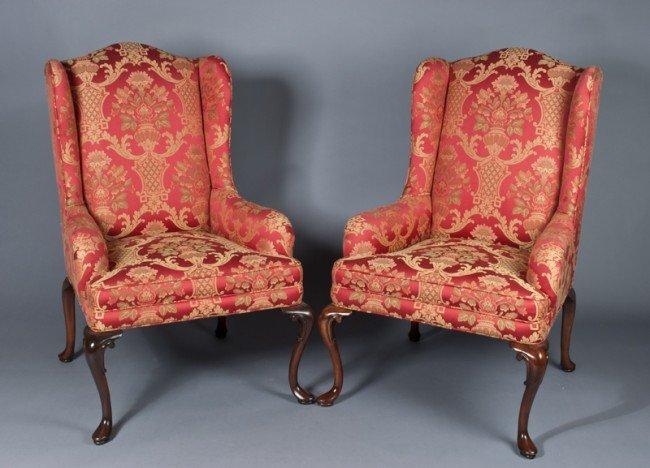 23: Fine Pr. Of Henredon Wingback Chairs