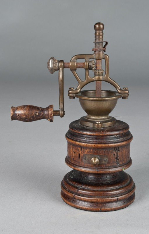 579: Antique Wood and Brass Pepper Grinder