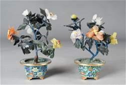 711: Pr. Chinese Jade Trees In Cloisonne Vases