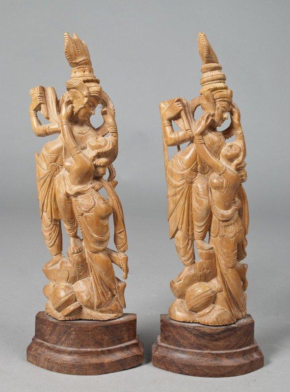 11: Pr. Of Carved Wood Thai Buddha Figurines
