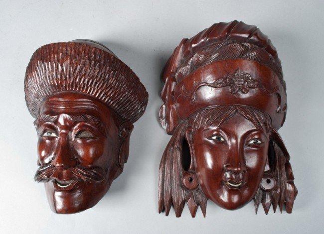13: (2) Japanese Carved Hardwood Masks