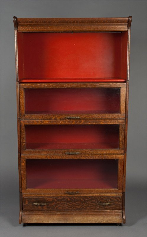 22: A Oak and Glass Barrister 4 Stack Bookcase