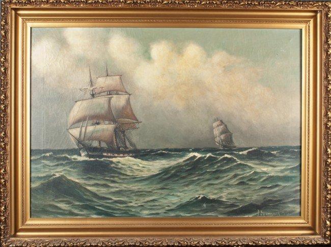 449: Leon Lundmark Oil Painting On Canvas