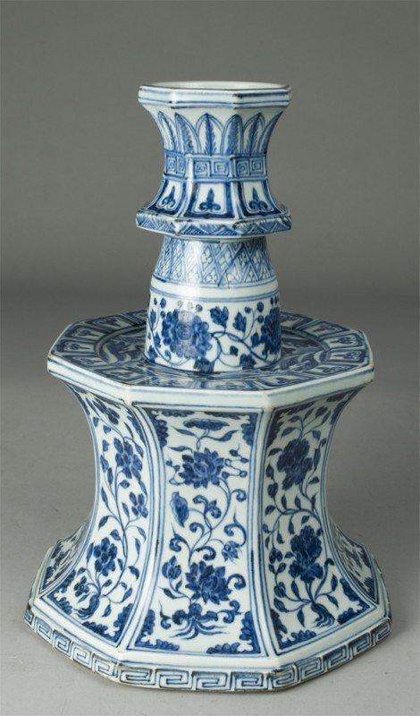 460: Large & Impressive Blue & White Candle Holder