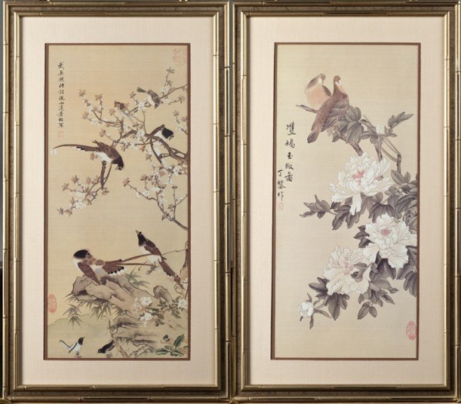 2: Pr. Of Chinese Watercolor Paintings on Silk