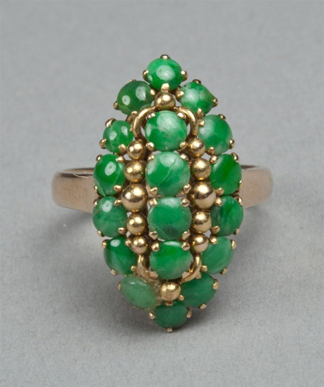 3: Chinese Jadeite And 14K Gold Ring