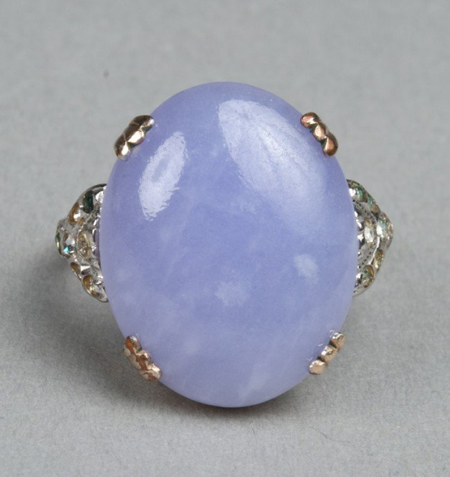 8: A Fine Chinese Lavender Jade & Silver Gilt Ring