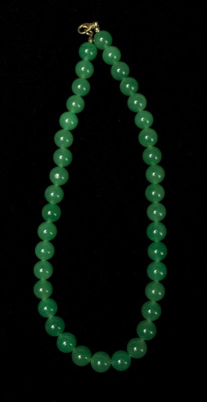9: Chinese Qing Carved Jade Necklace