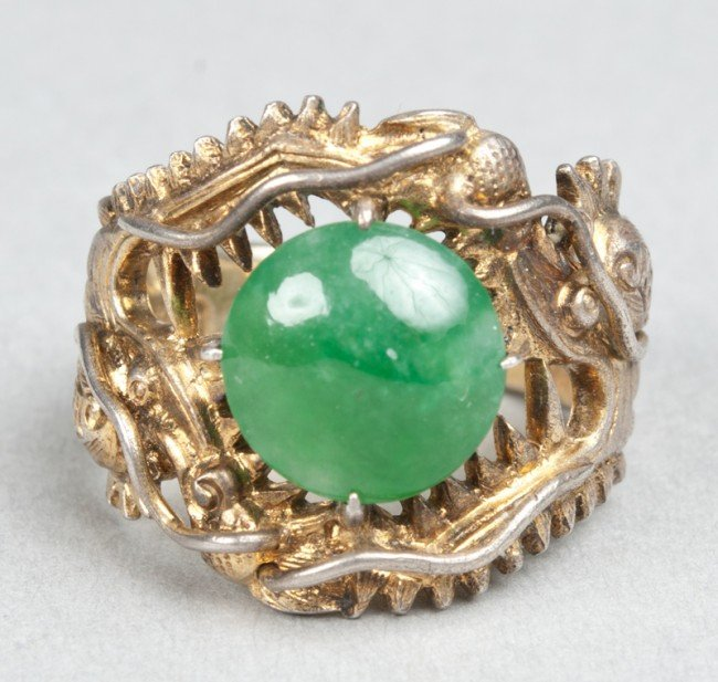 14: Chinese Qing Jadeite And Silver Gilt Ring