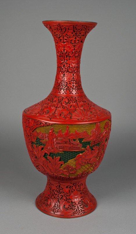 18: A Fine  Chinese Cinnabar Three Color Vase