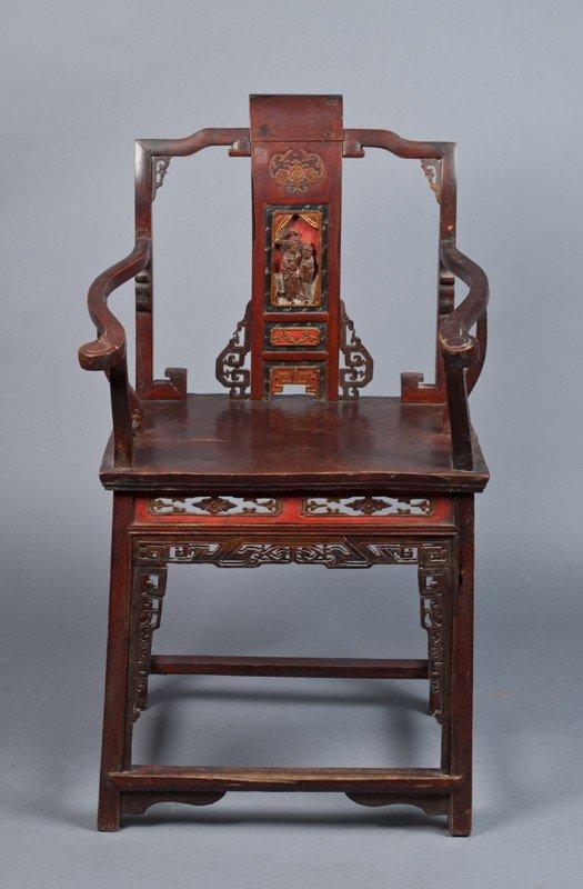 24: A Chinese Qing Yoke Back Armchair
