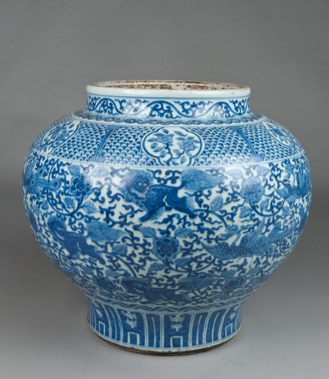 48: A Massive Yuan Style Blue & White Porcelain Jar