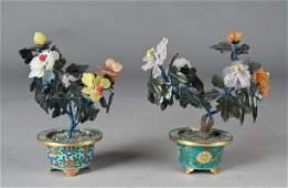 455: Pr. Chinese Jade Trees In Cloisonne Vases