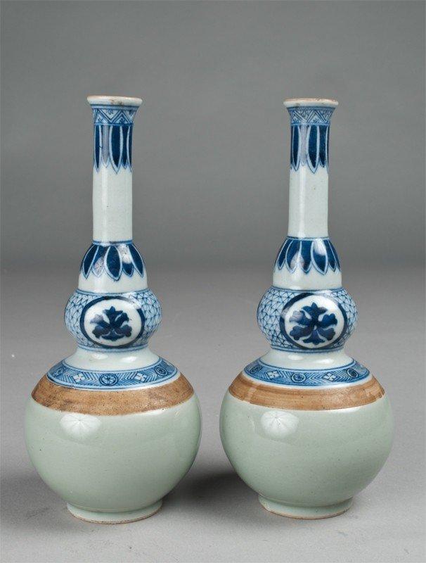 3: Pr. Chinese Celadon, Blue & White Porcelain Vases