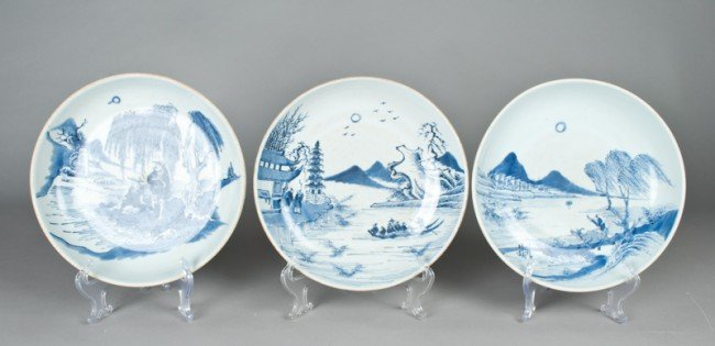 4: (3) Chinese Blue and White Porcelain Low Bowls
