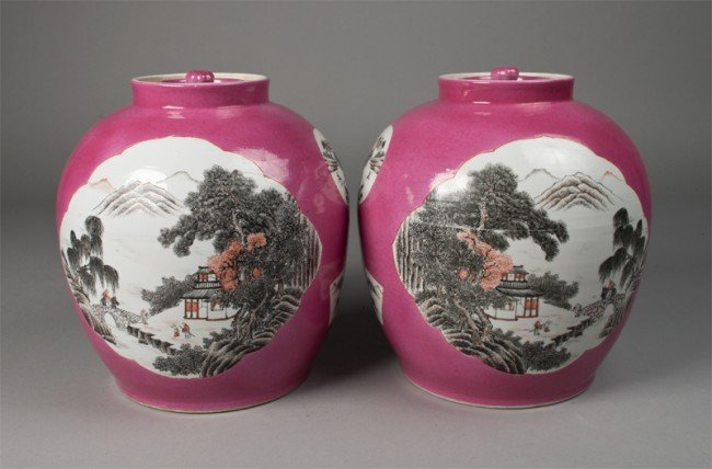 6: Pr. Of Chinese Porcelain Covered Jars