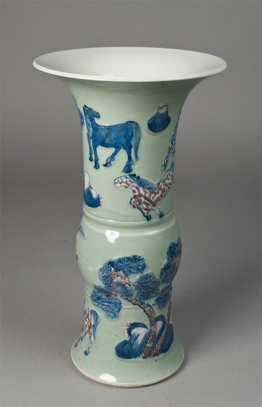 8: Large Chinese Famille Rose Horses Vase