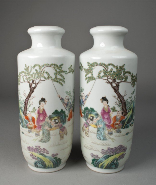 9: Pr. Of Chinese Famille Rose Porcelain Vases