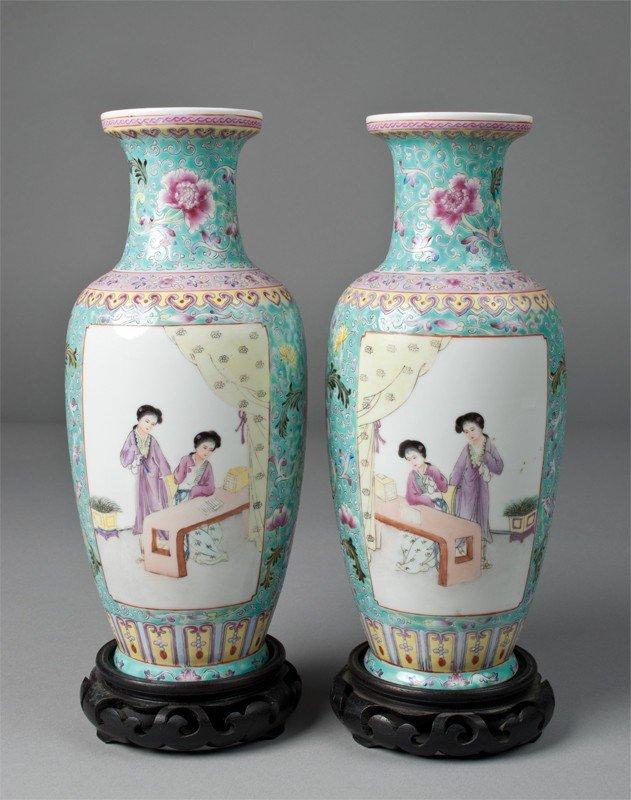 19: Pr. Of Chinese Famille Rose Eggshell Vases