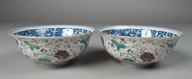 20: Pr. Of Chinese Famille Rose Porcelain Bowls