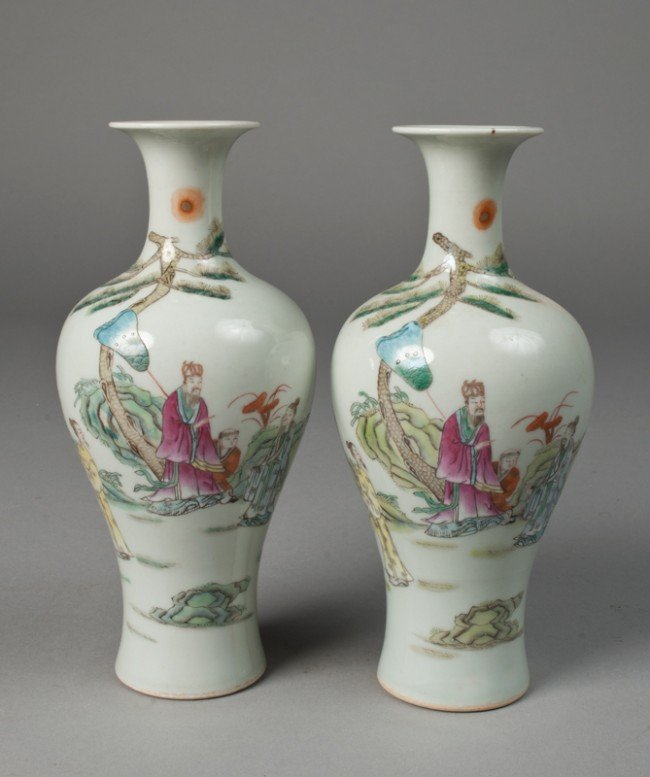 24: Pr. Of Chinese Famille Rose Vases